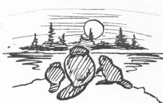 Beaver family, sketch by Hope Sawyer Buyukmihci, Refuge co-founder and artist