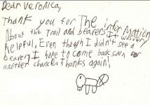 Thank-you note from young visitor to Unexpected Wildlife Refuge