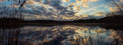 Clouds reflected in main pond, courtesy Cliff Compton