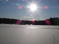 Main pond, frozen and covered with snow, Unexpected Wildlife Refuge photo